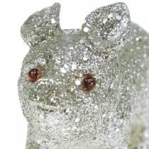 Dekorativ svinglitter sølv 10 cm 8stk