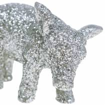 Dekorativt gris Nytårsdekoration sølvglitter 3,5 cm 2stk