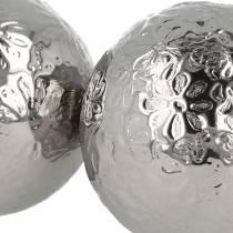 Flydende kugleblomster sølvmetal Ø5,5cm assorteret 6stk