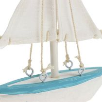 Sejlbåd 10 cm x 14 cm hvidblå