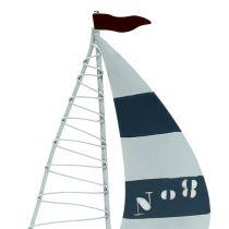 Sejlbåd 11 cm x 19 cm hvidblå 3stk