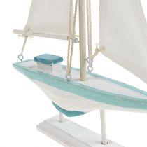 Sejlbåd hvidblå 30 cm