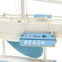 Dekorativ sejlbåd lavet af træblå, hvid H41,5cm