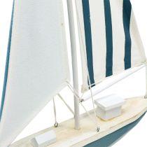 Dekorativ sejlbåd træ blå-hvid 56,5 cm