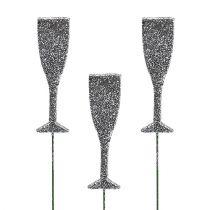 Champagneglas med glitter sølv 8cm L28cm 24stk