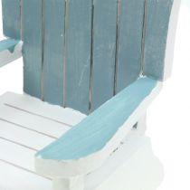 Dekorativ stol i træ hvid-turkisgrå H16cm