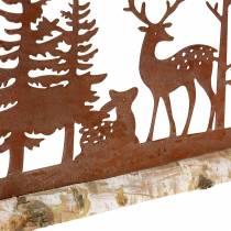 Skovsilhuet med rustikerede dyr på en træbase 57cm x 25cm