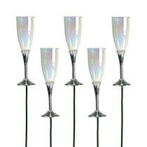 Nytårsaften dekorativ champagneglasstik sølv 7,5 cm L27cm 12stk