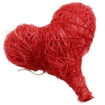 Sisal hjerter 5cm rød / hvid 12stk