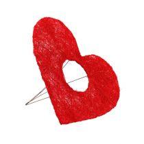 Sisal hjertemanchet rød 15cm 10stk.