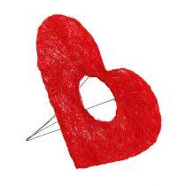 Sisal hjerte manchet 20cm rødt hjerte sisal blomster dekoration 10stk