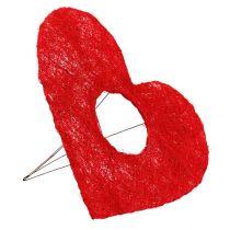 Sisal hjertemanchet 25cm rød 10stk