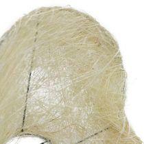 Sisal manchethjerte 15 cm x 19 cm bleget 1 stk