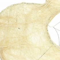 Sisal ærmehjerte bleget 25,5 cm 10stk