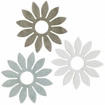 Sommerblomster trædekoration blomster brun, lysegrå, hvid streudeko 72stk