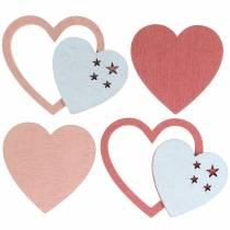 Spredte hjerter lyserøde / hvide 24stk