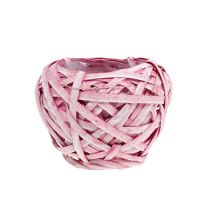 Flisekurv rund Ø15cm H14cm lyserød