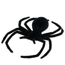 Spider sort flokket 16cm