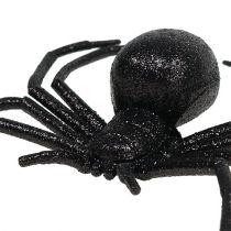 Sort edderkop 16cm med glimmer