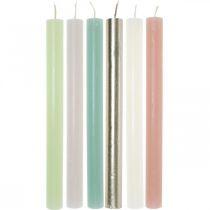 Koniske stearinlys farvet gennem forskellige farver 21 × 240mm 12stk
