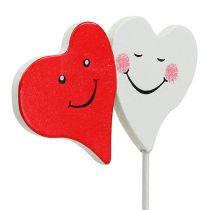 Dobbelt hjertestik rød, hvid 8cm x 5cm 12stk