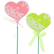 Hjerte pink, grøn 8,5 cm x 7,5 cm 12stk