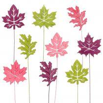 Dekorativ plug blad lyserød, grøn, Bordeaux 8cm 18stk