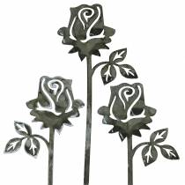Metalstik rose sølvgrå, hvidvasket metal 20cm × 8cm 12stk