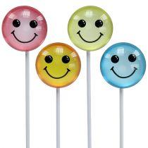 Dekorativ smiley på pinden assorterede farver 3,5 cm 8stk
