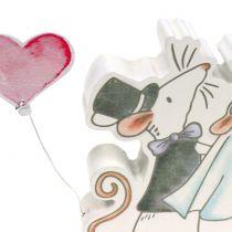 Deco figur musepar med hjerter 11cm x 11cm 4stk