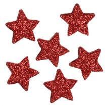 Stjerneglitter 1,5 cm til dryssing af røde 144 stk