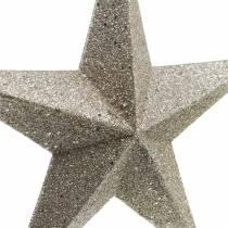 Glitterstjerner til hængende champagne Ø21cm 3stk