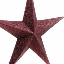 Glitterstjerne til hængende burgunder Ø30cm