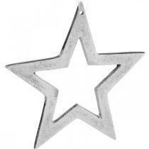 Stjerne til ophængning af sølvaluminium julepynt 15,5 × 15 cm