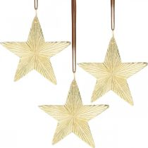 Hængende stjerner, metalpynt, juletræspynt guld 9,5 × 9,5cm 3stk