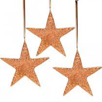 Dekorativ stjerne til at hænge, adventsdekoration, metal vedhæng kobberfarvet 12 × 13cm 3stk