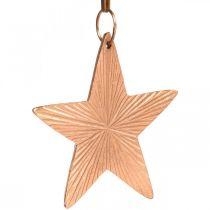 Stjerne vedhæng, julepynt, metal dekoration kobberfarvet 9,5 × 9,5 cm 3stk