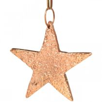 Kobberstjerne til at hænge, juletræspynt, metal vedhæng 8 × 9cm 2stk