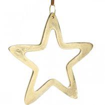 Julevedhæng, stjernedekoration til advent, dekorationsstjerne gylden 14 × 14cm