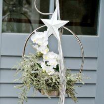 Hængende stjerne, juletræspynt, metalpynt hvid 19,5 × 18,5 cm