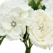 Dekorativ buket hvid med perler og rhinestones 29cm