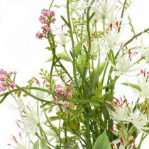 Forårsbuket kunstig lyserød, hvid, grøn kunstig buket H43cm