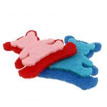 Spredt bjørn lavet af filt assorterede farver 3,5 cm x 3,5 cm 100p
