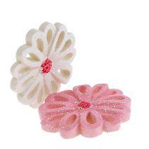 Spredte blomster 3 cm lyserød, fløde 60stk