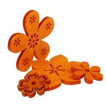 Sprededekoration træblomst orange 2 cm - 4 cm 96p