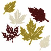 Spredte efterårsblade filt bordeaux / creme / grøn 72stk