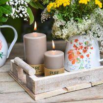 Ren søjlelys brun 90/60 natur vokslys bæredygtig dekoration af stearin rapslys