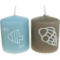 Søjlelys 60/50 Maritimt dekorationslys Sommerdekoration Mix Safe Candle 4stk
