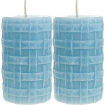 Vokslys kurv mønster, søjler stearinlys, stearinlys Rustik lyseblå 110/65 2stk