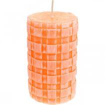 Rustikke stearinlys, søjle stearinlys kurv mønster, orange vokslys 110/65 2stk